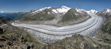 Panorama image of the Aletsch Glacier. Aletsch Glacier, longest glacier in the Alps stock photo