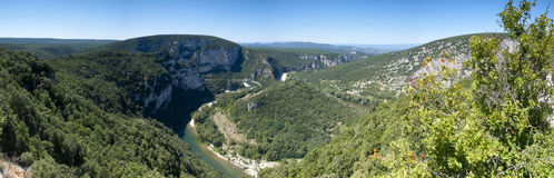 Panorama image of the Ardeche river, France Royalty Free Stock Images