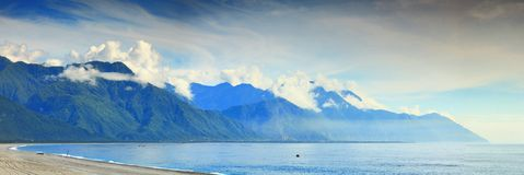 Panorama Image of Coastline in Hualien, Taiwan Stock Photography