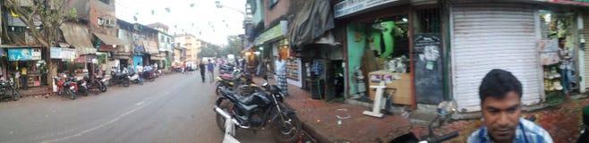 Panorama image of dharavi slum road Royalty Free Stock Photos