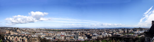 Panorama image of Edinburgh city from Edinburgh castle, Scotland, UK Royalty Free Stock Photos