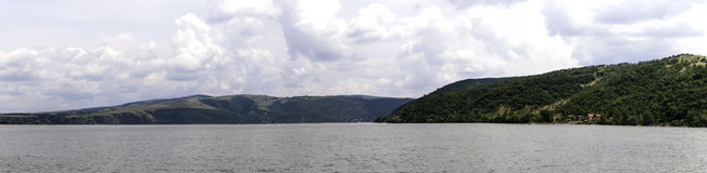 Panorama image with hills by the Danube river Royalty Free Stock Images