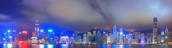 Panorama Image of Hongkong at night Royalty Free Stock Photo