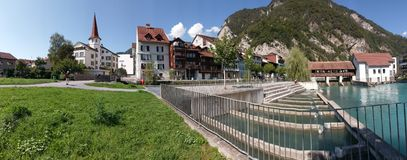 Panorama photo of Interlaken village in Switzerkand stock photo