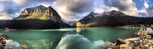 Panorama Picture of Lake Louise royalty free stock photography