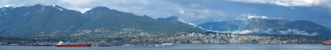 Panorama Image of North Vancouver in a Cloudy Day Stock Photography