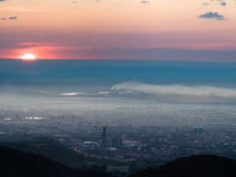 Panorama image of pollution city Royalty Free Stock Photography
