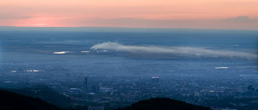 Panorama image of pollution city Stock Image