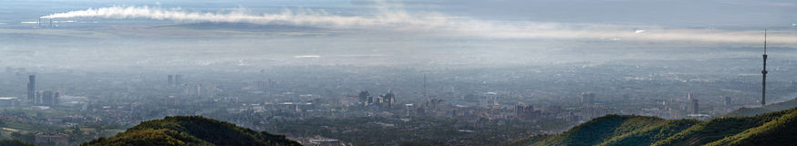 Panorama image of pollution city Royalty Free Stock Photo