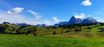 Panorama image of the Seiser Alm or Alpe di Siusi, a high altitude alpine meadow in the Dolomites with Langkofel and Plattkofel mo Stock Photo