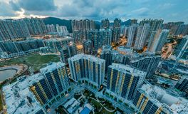 Panorama images of Hong Kong Cityscape view from sky Royalty Free Stock Images