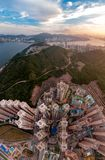 Panorama images of Hong Kong Cityscape view from sky Royalty Free Stock Photo
