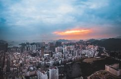 Panorama images of Hong Kong Cityscape view from sky Stock Photos