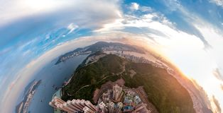 Panorama images of Hong Kong Cityscape view from sky Stock Photography