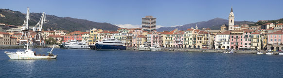 Panorama of Imperia from the sea, Italy Royalty Free Stock Photography