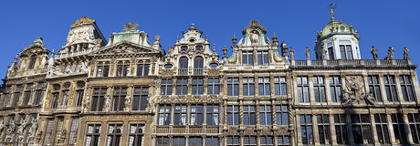 Panorama of the impressive Guildhalls in Grand Place, Brussels Royalty Free Stock Photos