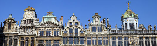 Panorama of the impressive Guildhalls in Grand Place, Brussels Royalty Free Stock Photo