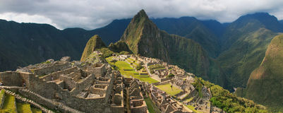 Panorama of the Incan citadel Machu Picchu in Peru Stock Image