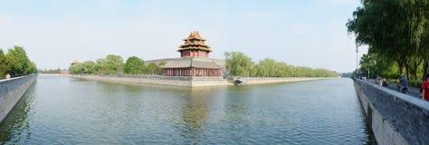 Jiaolou. Corner Tower. Forbidden City. Gugong. Tongzi Moat. Huchenghe. Panorama royalty free stock images