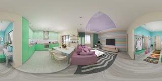 Panorama inconsútil del ejemplo de la sala de estar Fotos de archivo libres de regalías