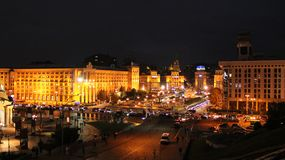 Panorama of Independence Square in Kyiv at night. Lights of night city stock photo