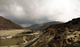 Panorama of Indus river and valley, Karakoram, Pakistan. Panorama of Indus river and valley with bridge, Karakoram, Pakistan Stock Image