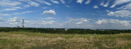 Panorama of industrial areas. Power Plant.Poland. Panorama of industrial areas. Place: Katowice District, Upper Silesia, Poland. Europe. Chimney of a heat and royalty free stock photos