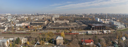 Panorama of industrial district Svyatoshin, Kiev. Stock Photo
