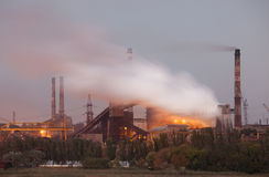 Panorama of industrial landscape. Air pollution concept stock image