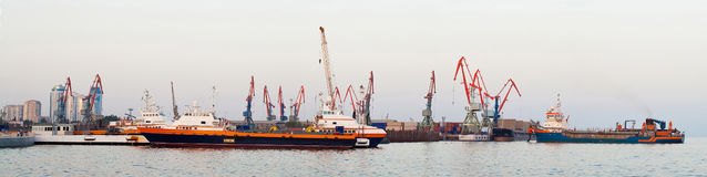 Panorama of industrial port Stock Image