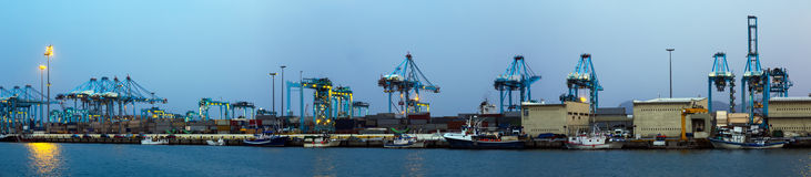 Panorama of Industrial port of Algeciras Royalty Free Stock Photo
