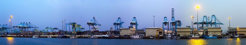 Panorama of Industrial port Stock Images