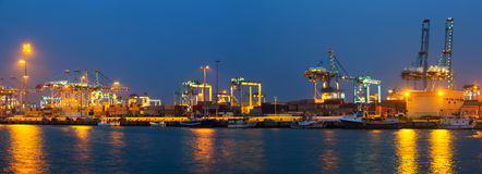 Panorama of Industrial port of Algeciras Stock Image