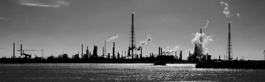 Panorama industrial skyline of Antwerp harbor Royalty Free Stock Photo