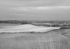 Panorama inglês do país em Salisbúria em preto e branco foto de stock