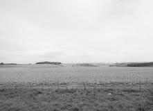 Panorama inglese del paese a Salisbury in bianco e nero fotografia stock