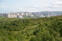 Panorama of the inhabited residential district of the city of Murmansk Stock Image