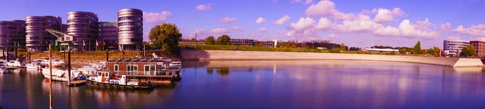 Panorama of Inner Harbour Duisburg. Inner Harbour was a central trading point in town of Duisburg from 5th century until mid 1960s. Now, the district has been stock photography