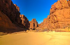 Panorama innerhalb der Schlucht alias Guelta d ?Archei in Ost-Ennedi, Tschad stockfoto