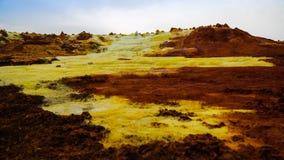 Panorama inom Dallol den vulkaniska krater i den Danakil fördjupningen, avlägsna Etiopien Royaltyfri Foto