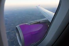 Panorama from inside airplane Stock Photos