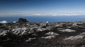 Panorama inside caldera of Pico volcano with seismic station, Azores, Portugal Royalty Free Stock Photo