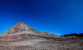 Panorama inside crater of Pico volcano and Piquinho pinnacle, Azores, Portugal Stock Image