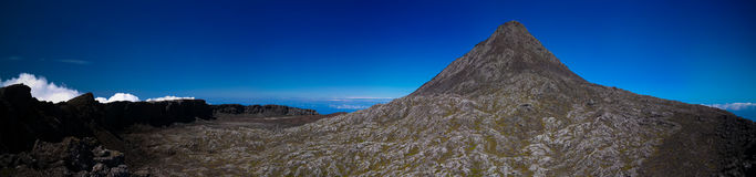 Panorama inside crater of Pico volcano and Piquinho pinnacle, Azores, Portugal Stock Photography