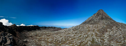 Panorama inside crater of Pico volcano and Piquinho pinnacle, Azores, Portugal Stock Images