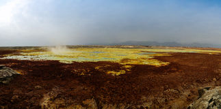 Panorama inside Dallol volcanic crater in Danakil depression Ethiopia. Panorama inside Dallol volcanic crater in Danakil depression, Ethiopia Stock Photo