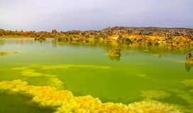 Panorama inside Dallol volcanic crater in Danakil depression, Ethiopia Royalty Free Stock Photo