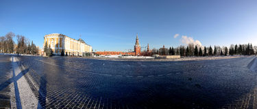 Panorama inside of Moscow Kremlin on a sunny winter day, Russia Royalty Free Stock Images