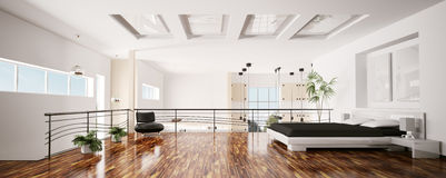 Panorama intérieur 3d de chambre à coucher moderne Photos libres de droits