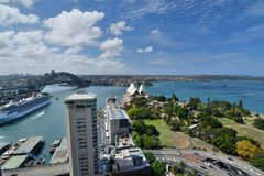 Panorama from InterContinental hotel. Sydney. New South Wales. Australia. Sydney is the state capital of New South Wales and the most populous city in Australia royalty free stock images